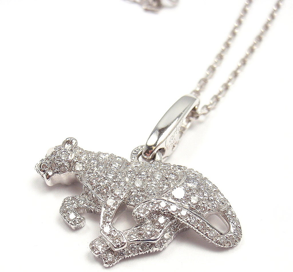 cartier panther white gold necklace at 1stdibs