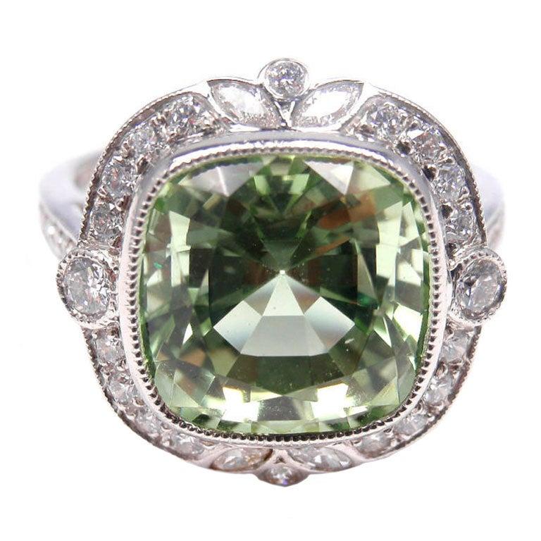 Tiffany And Co Green Tourmaline Diamond Platinum Ring At
