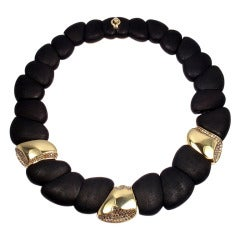 ROBERTO COIN Capri Plus Diamond Ebony Wood Necklace