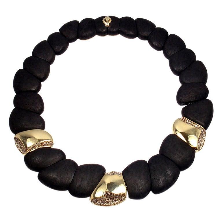 ROBERTO COIN Capri Plus Diamond Ebony Wood Necklace