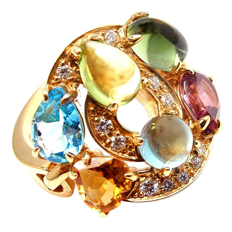 BULGARI Cerchi Diamond & Multi-Colored Stone Yellow Gold Ring