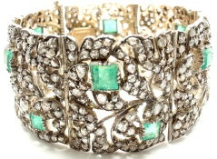 Georgian Early 19th Century Emerald Diamond Bracelet