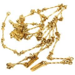 "Salvador Dali ""The Madonna Of Port Lligat"" Yellow Gold Necklace & Bracelet"
