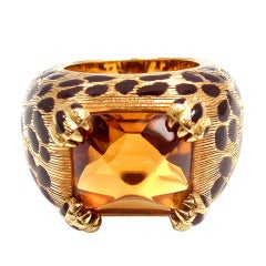 CHRISTIAN DIOR Leopard Citrine & Enamel Yellow Gold Ring