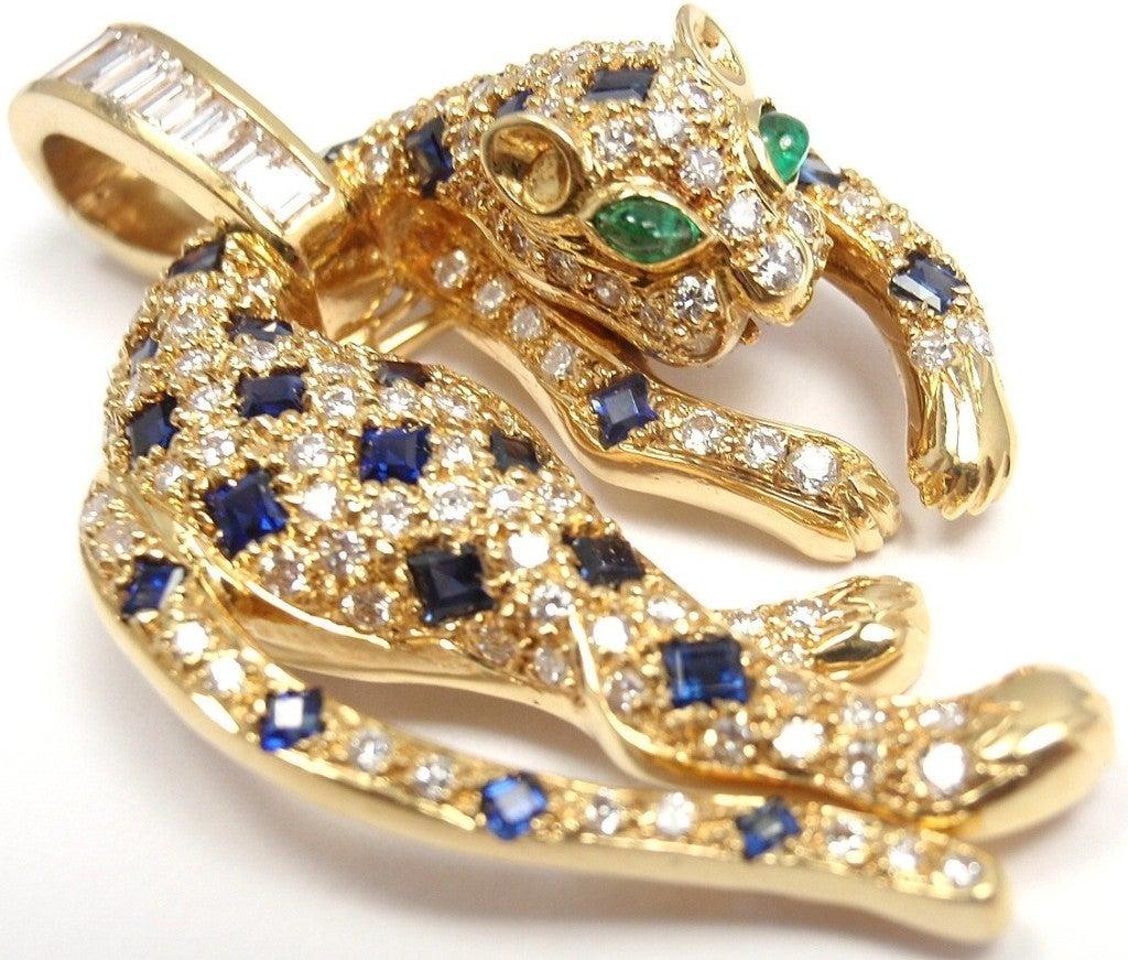 ponte vecchio diamond sapphire emerald panther yellow gold