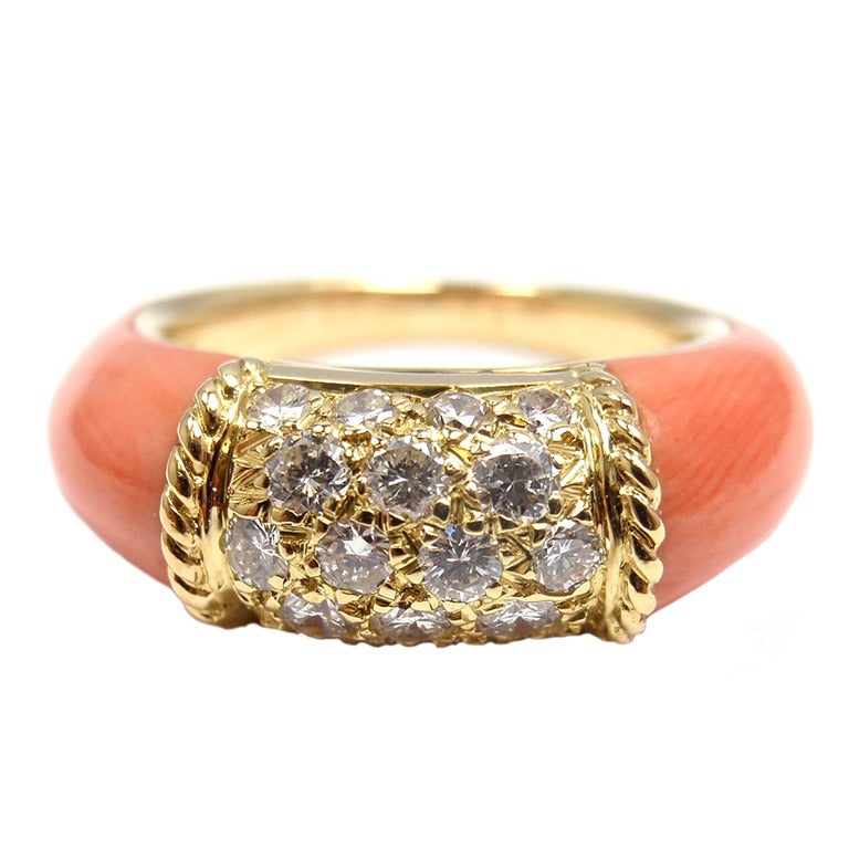 cleef and arpels coral yellow gold ring at 1stdibs