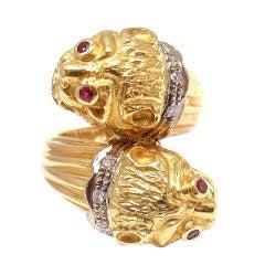 LALAOUNIS Diamond Ruby Chimera Yellow Gold Ring