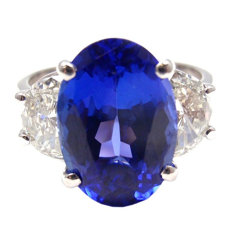 JB STAR Diamond & Tanzanite Platinum Ring 1