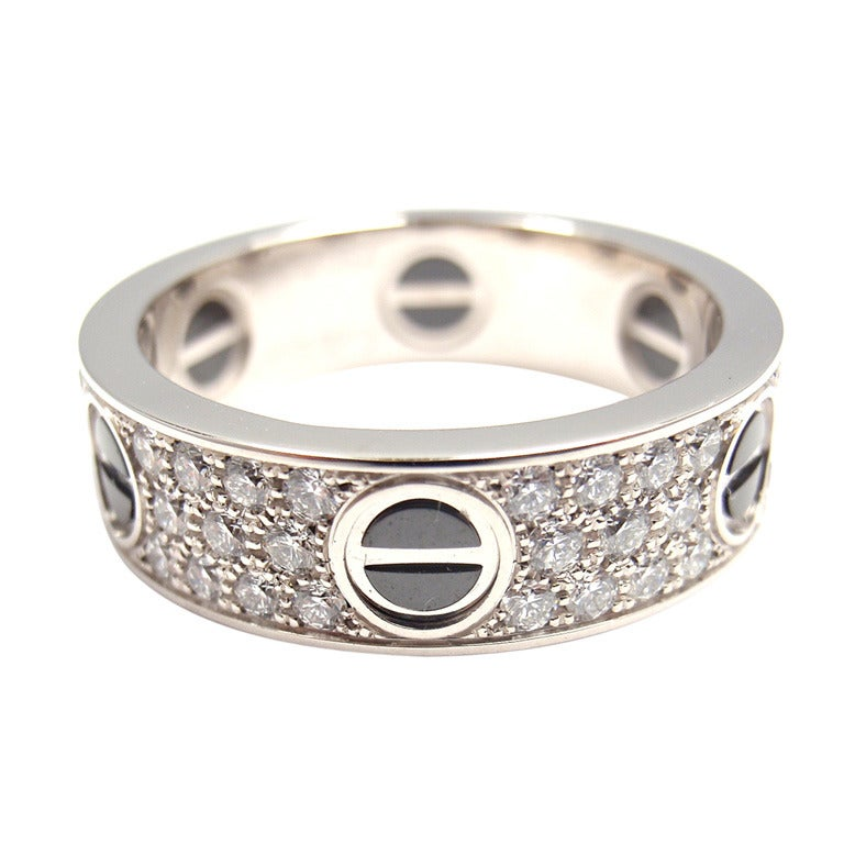 cartier black ceramic white gold band ring at