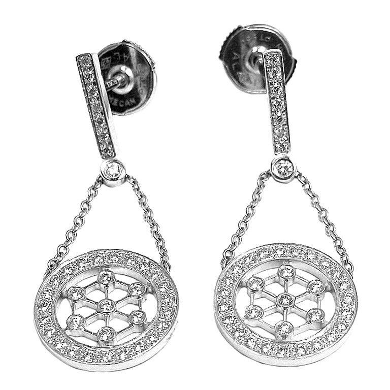 10c48a45b TIFFANY & CO Voile Diamond Drop Dangle Platinum Earrings