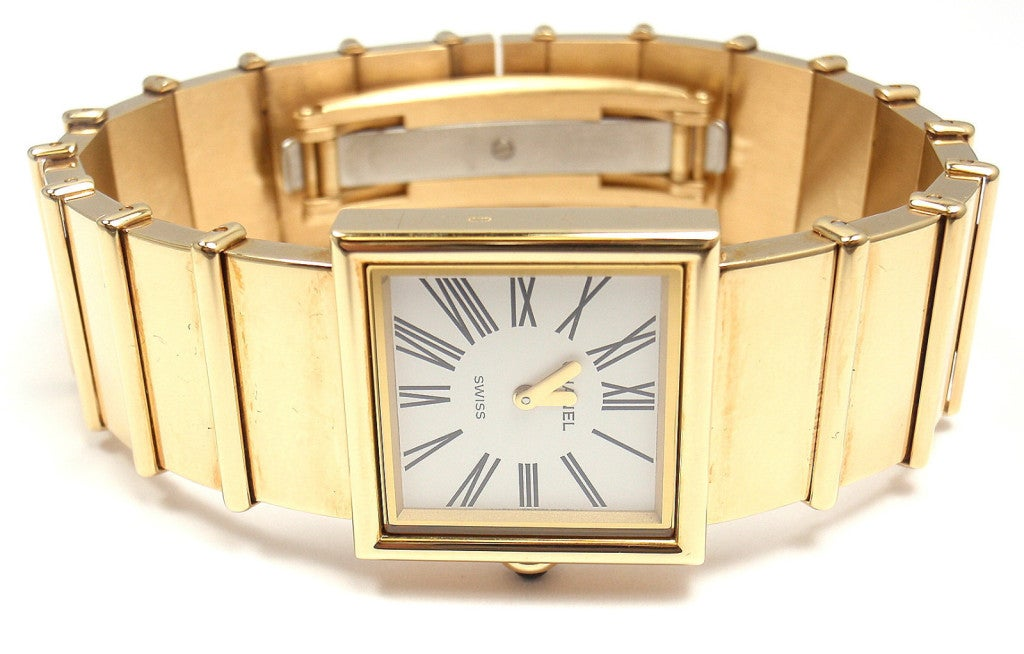 Chanel lady's 18k yellow gold Mademoiselle quartz bracelet watch  Details:  Size: Will fit a 7.25