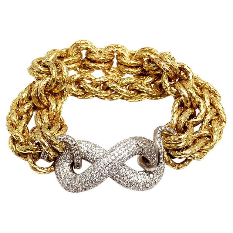Bottega Veneta Torcello 6ct Diamond Link Yellow Gold