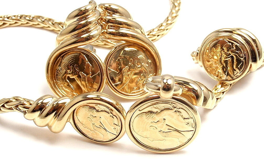 Jean Vendome Coin Yellow Gold Necklace And Earrings And