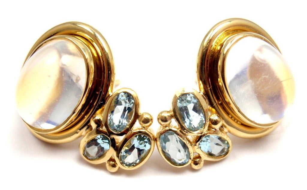 TEMPLE ST CLAIR Classic Royal Blue Moonstone Aquamarine Yellow Gold Earrings 2