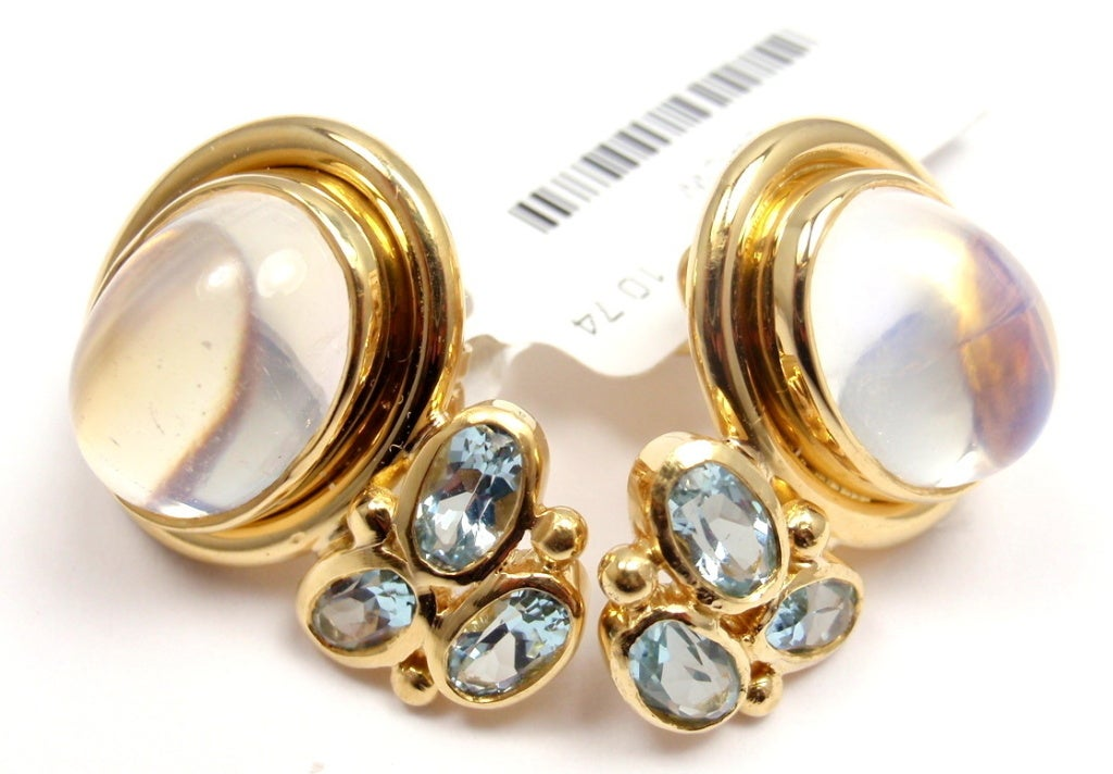 TEMPLE ST CLAIR Classic Royal Blue Moonstone Aquamarine Yellow Gold Earrings 3