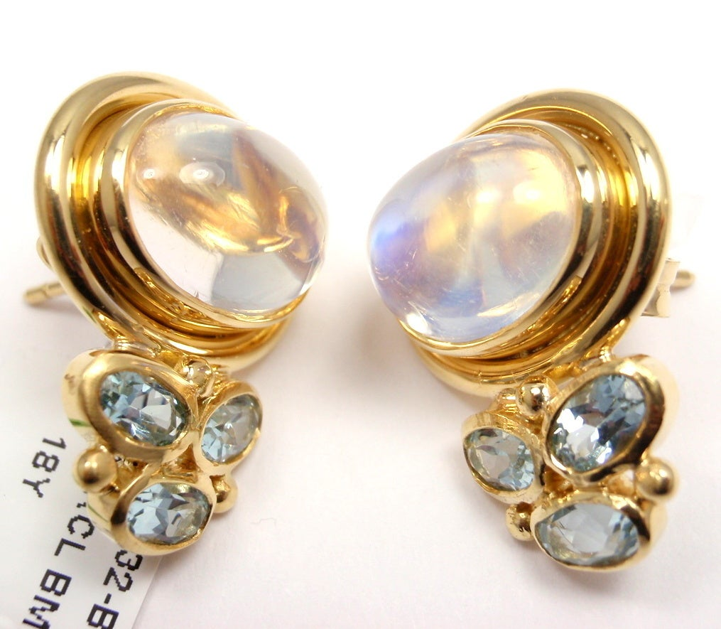TEMPLE ST CLAIR Classic Royal Blue Moonstone Aquamarine Yellow Gold Earrings 4