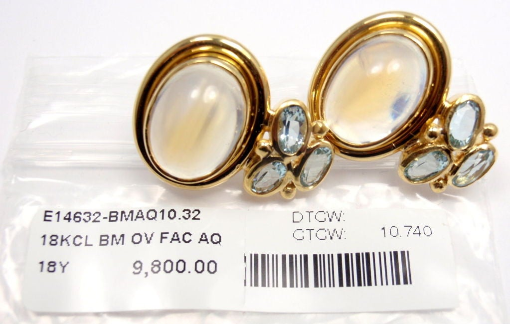 TEMPLE ST CLAIR Classic Royal Blue Moonstone Aquamarine Yellow Gold Earrings 5