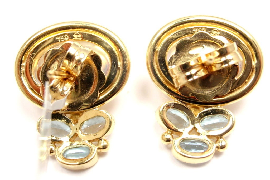 TEMPLE ST CLAIR Classic Royal Blue Moonstone Aquamarine Yellow Gold Earrings 6