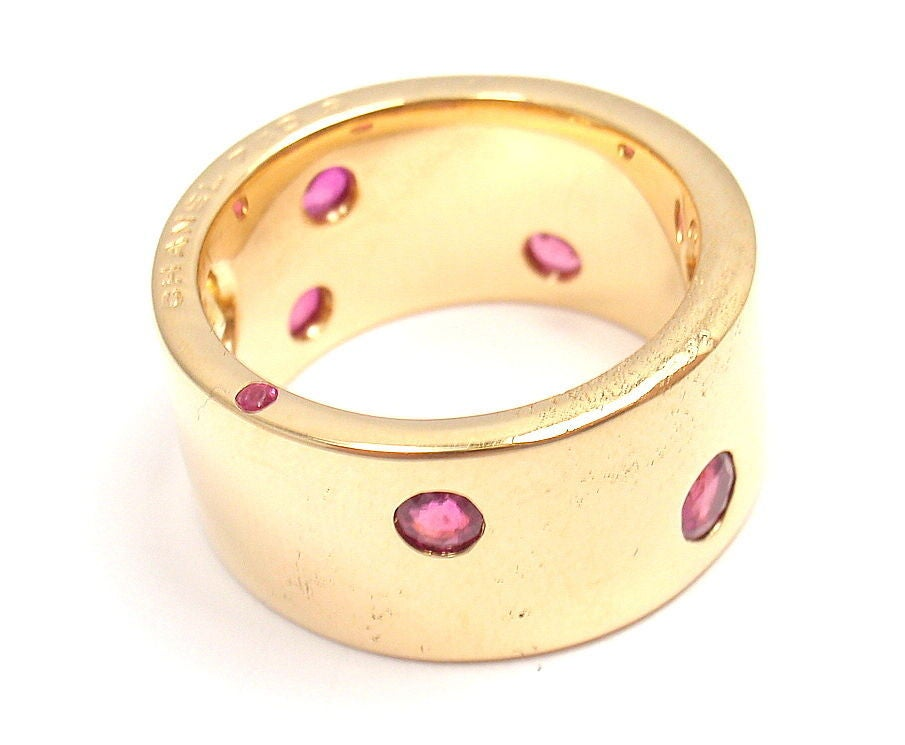 Women's CHANEL Ruby & Yellow Sapphire Yellow Gold Ring For Sale
