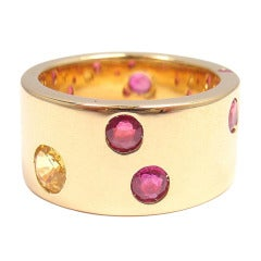 CHANEL Ruby & Yellow Sapphire Yellow Gold Ring