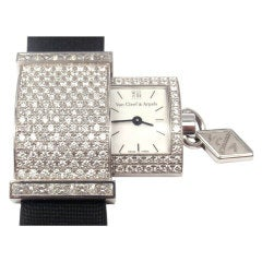 VAN CLEEF & ARPELS 'Secret Pavee' Diamond White Gold Watch