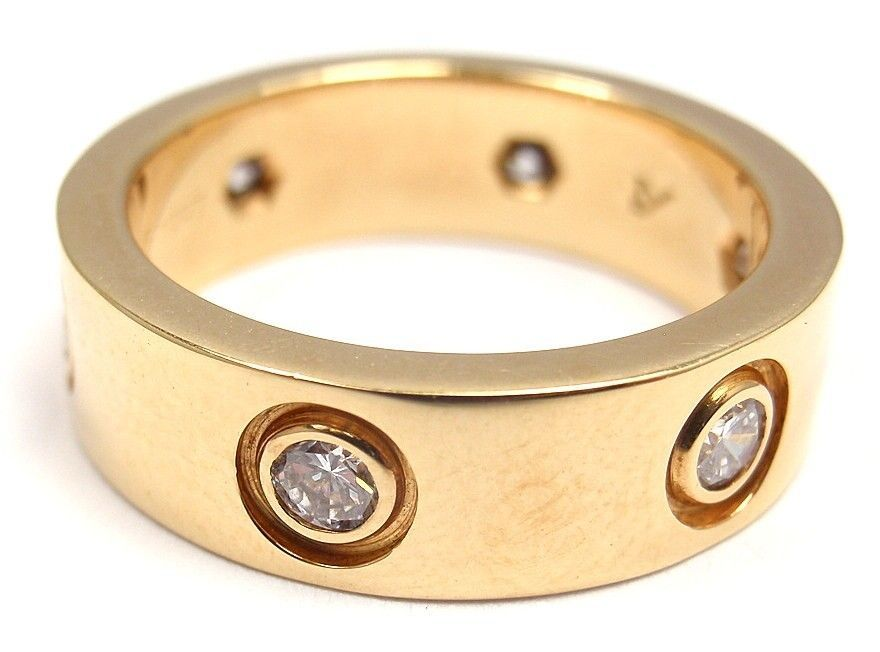 CARTIER LOVE Diamond Yellow Gold Ring at 1stdibs