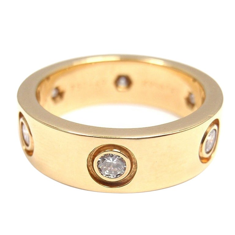 CARTIER LOVE Diamond Yellow Gold Ring For Sale at 1stdibs