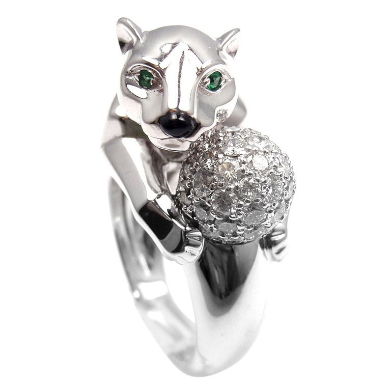 cartier panther emerald black onyx white gold ring