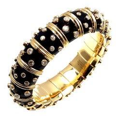 TIFFANY & CO Jean Schlumberger Diamond Black Enamel Gold Bracelet