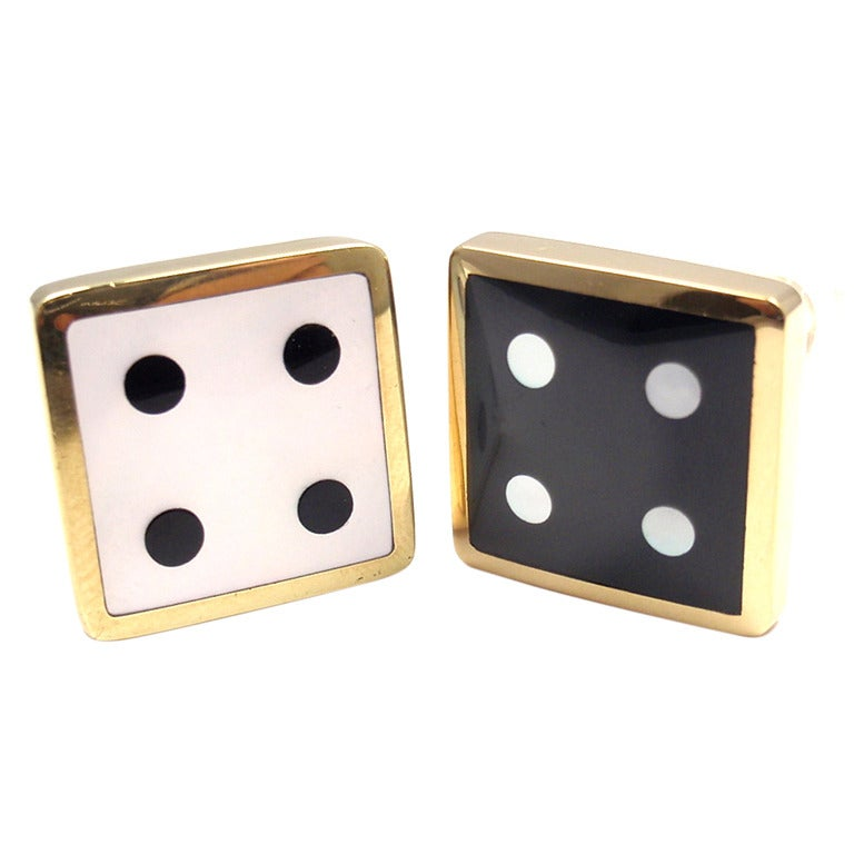TIFFANY & CO Mother of Pearl Black Onyx Yellow Gold Dice Earrings