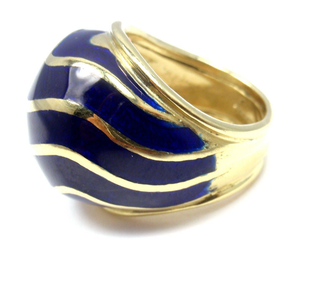 Tiffany And Co Blue Enamel Yellow Gold Dome Ring At 1stdibs