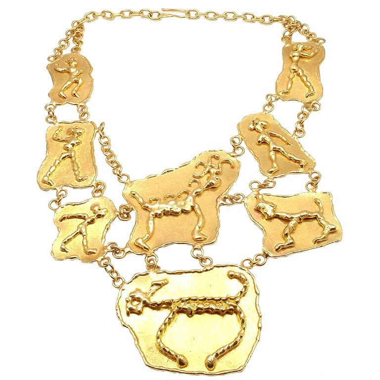 jean mahie heavy gold large link necklace for sale at 1stdibs