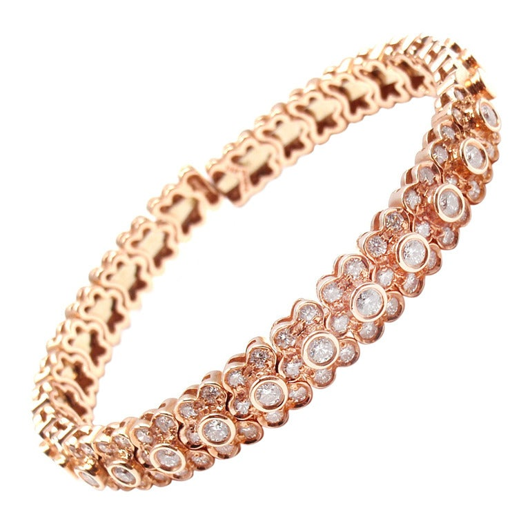 Sonia B Bitton Diamond Flower Rose Gold Bracelet At 1stdibs