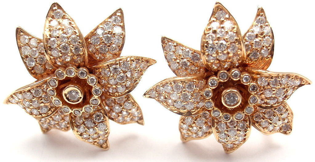SONIA B. BITTON Diamond Flower Rose Gold Earrings 2