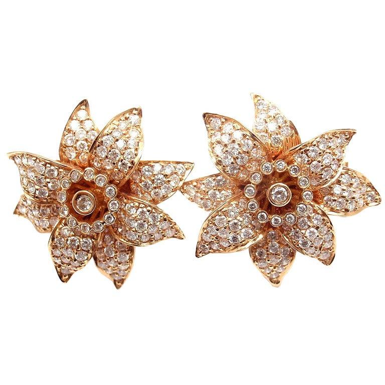 SONIA B. BITTON Diamond Flower Rose Gold Earrings at 1stdibs