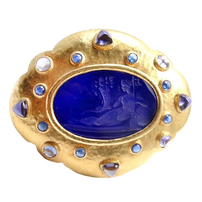 Elizabeth Locke Venetian Glass Intaglio Iolite Yellow Gold Pin Brooch