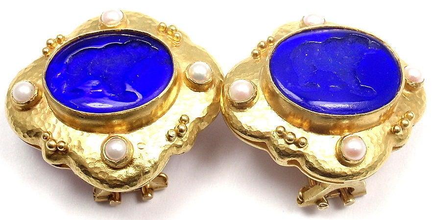 Elizabeth Locke Venetian Glass Intaglio Pearl Yellow Gold Earrings 3