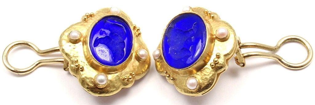 Elizabeth Locke Venetian Glass Intaglio Pearl Yellow Gold Earrings 8
