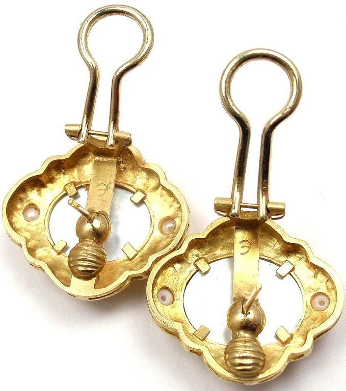 Elizabeth Locke Venetian Glass Intaglio Pearl Yellow Gold Earrings 9