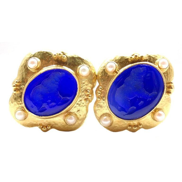 Elizabeth Locke Venetian Glass Intaglio Pearl Yellow Gold Earrings 1