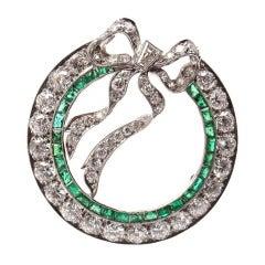 TIFFANY & CO Art Deco Diamond & Emerald Bow Platinum Pin Brooch