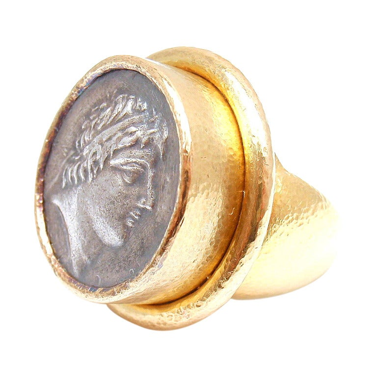 Elizabeth Locke Roman Coin Hammered Yellow Gold Ring At