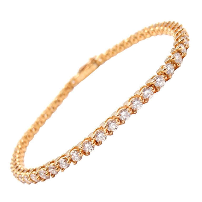 cartier yellow gold tennis bracelet at 1stdibs
