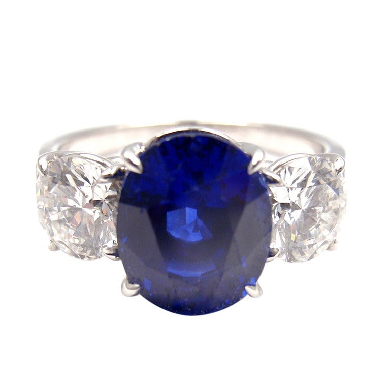 Graff Sapphire Diamond Three Stone Platinum Ring At 1stdibs