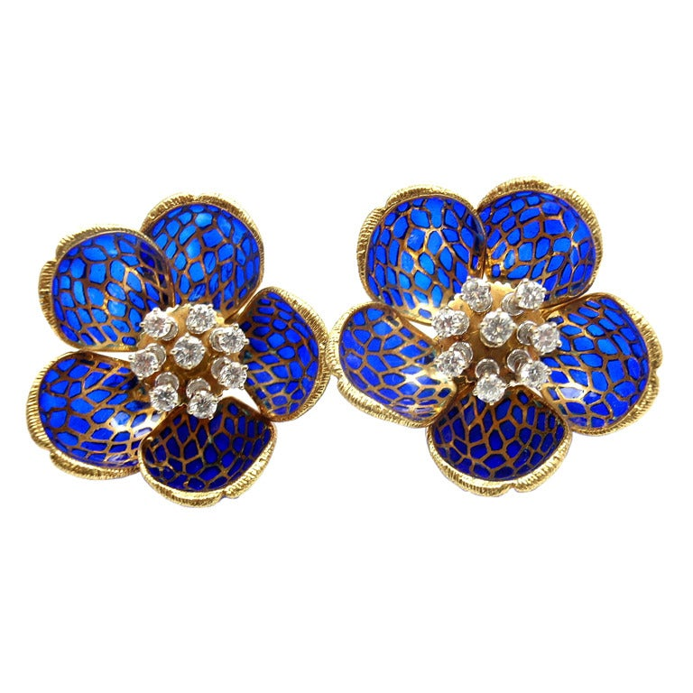 French Mechanical Blue Enamel Diamond Yellow Gold Flower