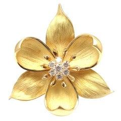 TIFFANY & CO. Diamond Yellow Gold Orchid Brooch