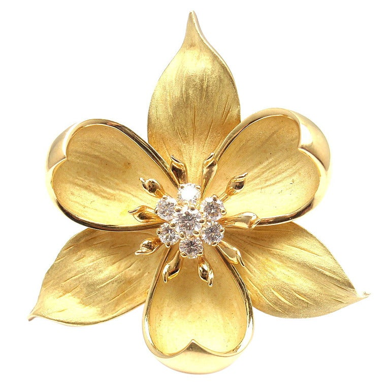 Orchid Trellis New Diamontrigue Jewelry: TIFFANY And CO. Diamond Yellow Gold Orchid Brooch At 1stdibs