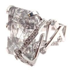 CHANEL Large Rutilated Quartz Diamond White Gold Ring