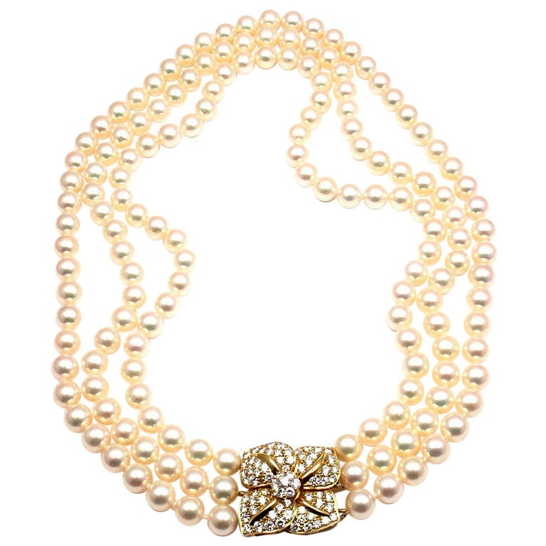 Mikimoto triple strand pearl diamond yellow gold necklace for Triple j fine jewelry
