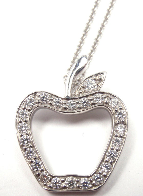 Tiffany and co diamond platinum apple pendant necklace at 1stdibs diamond platinum apple pendant necklace in as new condition for sale in mozeypictures Image collections